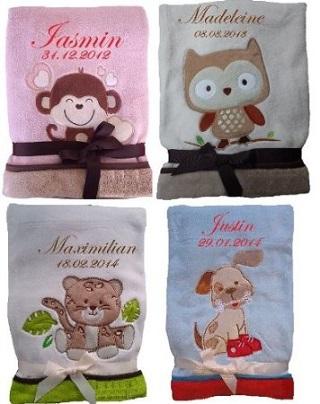 Niedlich weiche Babydecke mit Namen bestickt von Amazon*